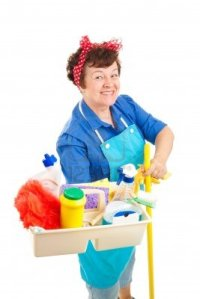 5345003-cheerful-cleaning-lady-holding-her-tray-of-cleaning-tools-and-products--isolated-on-white